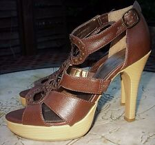 VIVA LA DIVA Brown Pivot Open Toe Cut Out High Slim Heel Sandals Shoes Size 6