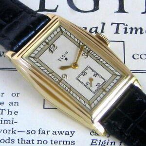 Mens MINT 1935 Elgin STAR Series 14K SOLID GOLD 17j Tonneau TANK Vintage Watch