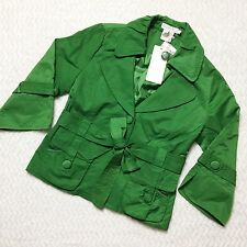 Neslay Paris Cropped Trenchcoat Green Satin Blend Size M NWT