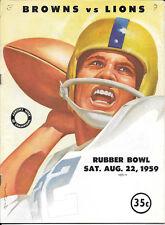 AUG 22, 1959 CLEVELAND BROWNS vs DETROIT LIONS RUBBER BOWL FOOTBALL PROGRAM