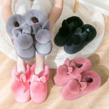 Women Winter Plush Bunny Rabbit Warm Slippers Indoor Slip On Soft Home Shoes