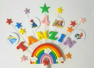 Rainbow princes birthday cake topper,  personalised name and age cake decoration