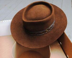 "Vtg John B. Stetson 4X Beaver Brown Cowboy Hat 7 1/4"" Western Nice!"