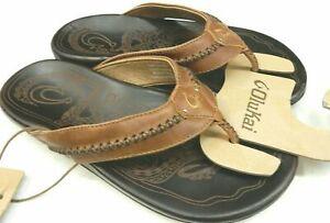 Olukai Men's Mea Ola Leather Sandals Tan/Dark Java - Size 12 *NEW*