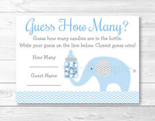 "Blue Chevron Elephant Baby Shower ""Guess How Many?"" Game Cards Printable"