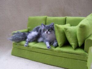Ooak Dollhouse Miniature Grey Maine Coon Cat lying down by Malga