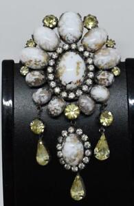 "Vintage VENDOME Easter Egg Glass Rhinestone LARGE Drop Dangle 3.75"" Brooch Pin"