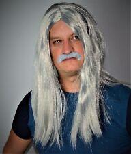 Mens Long Grey fancy Dress Wig & Mexican Moustache Set