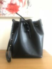 MANSUR GAVRIEL Large black leather blue drawstring bucket bag w Attached Purse
