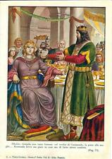 Stampa antica ALBOINO re dei Longobardi e Rosmunda Pavia 1930 Old antique print