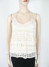 Aqua Crochet Lace Tank Top Natural Ivory M $58 9773 BM14 -FLAW