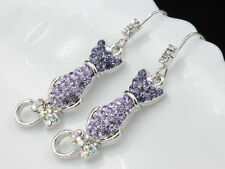 bowtie tial Earrings accessory T11 Amethyst puple Austrian Crystal cat kitty