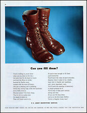 1947 Soldier's Boots U.S. Army Recruiting Service vintage photo print ad L69
