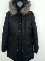 WOMENS DIVIDED H&M SMART HOODED PARKA COAT LONG SLEEVES ZIP UP COAT BLACK 38