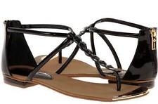 NIB ISOLA Aida BLACK PATENT Thong Toe BACK ZIP Sandals Womens 6 M