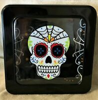 """Day of the Dead Sugar Skull Metal 7.25"""" Tin with Lid Black White Floral"""