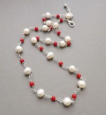 Handmade Pearl Coral Costume Necklaces & Pendants