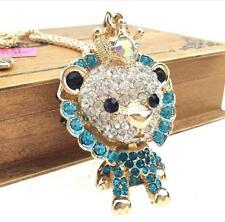 Jewelry Betsey Johnson pendant fashion gold chain rhinestone crown lion necklace