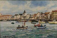 Tableau Huile marine bateaux bord de mer signé Christophe Rielland (1936)