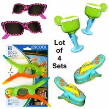 Boca Beach Towel Clips ~ Buffett Fan Set (4) Margarita Sunglass Parrot Flip Flip