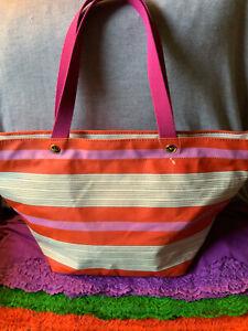 Fossil Key Per Coated Canvas Pink & Orange Multi Color Stripe Zip Tote & Shopper