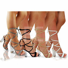 NEW WOMENS  HIGH CLEAR PERSPEX BLOCK HEEL PEEP TOE LACE UP SHOES SANDAL SIZE