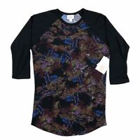 LuLaRoe Randy Shirt Womens XS Top Black Purple Blue Paint Mix Design NWT