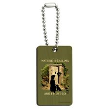 Nature is Calling I Must Go Outhouse Wood Wooden Rectangle Keychain Key Ring