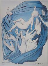 Jean MARAIS - L'enfant au drap bleu, Lithographie signée