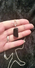 Beautiful Black Goldstone Nugget Gem Stone Pendant & Chain. Pagan Wicca Witch