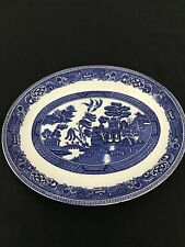Vintage Old Willow Alfred Meakin Ceramic Oval Blue Serving Plate