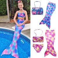 Mermaid Tail Kids Girls Bikini Bathing Swimming Swimwear Swimsuit Costume 4-8Yrs