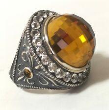 $1,050 Scott Kay sz 7 HUGE Fleur De Lis Citrine White Sapphire Ring Womens NWT