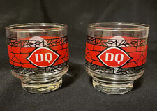Vintage Set of 2 DQ Dairy Queen 8 oz Mosaic Stained Glass Cups Red Black White