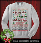 Merry Christmas Stranger Things Ugly Sweater ABC Alphabet Lights Funny