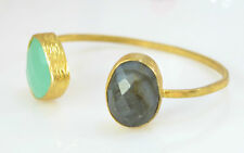 OttomanGems semi precious stone gold bracelet cuff bangle Labradorite Chalcedony