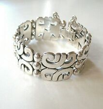 Vtg. Heavy Mexican Sterling Silver Sculpted Wide Square Link Bracelet -- 95.7g