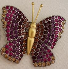 Signed Swan Swarovski Gold Plated Various Colored Crystal Butterfly Brooch Pin