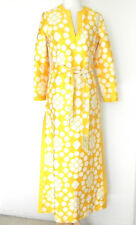 Vtg Lindo Ceschia Hippie Dress Maxi Slit Sides Yellow/White Belted Size 8
