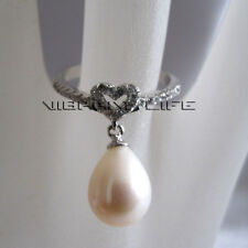8.0*9.0mm White Freshwater Pearl Ring R21H 6.75 Size Adjustable U