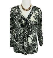 Chico's Travelers Women's Top Size 1 Medium Black & White Blouse 3/4 Sleeves