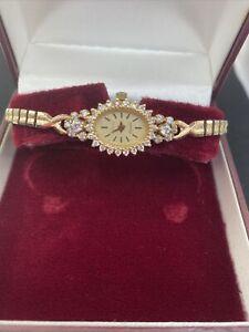 """Watch Ladies 14k. Case """"Geneve"""" Cubics Rolled Gold Expanding Bracelet"""