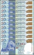 Hong Kong $20 Dollars X 10 Pieces (PCS), 2013, P-212c, UNC, HSBC