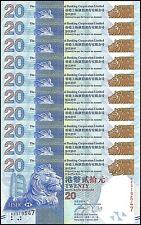 Hong Kong $20 Dollars X 10 Pieces (PCS), 2013, P-212c, UNC, HSBC