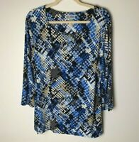 JM Collection Women's Top Size Large 3/4 Sleeves Casual Work Career Business