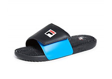 Fila Men's Slidebender Adley Slides - Black/Directoire Blue/Red