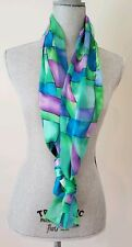 Vintage Green, Blue And Purple Abstract Moddern Print Scarf. Os