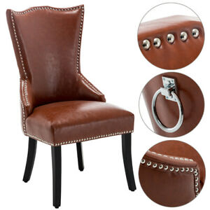 Leather Victoria Accent Dining Chair with Knocker And Studs Kitchen Chairs Seat