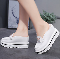 Womens Slip On Leather Creepers Wedge High Heels Sandals Platform Beach Shoes