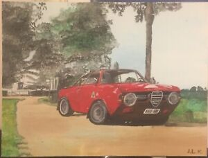 Alfa Romeo GTA Sports Car - Original Hand Painted Acrylic Painting On Canvas